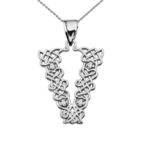 """""""V"""" Initial In Celtic Knot Pattern Sterling Silver Pendant Necklace With CZ"""
