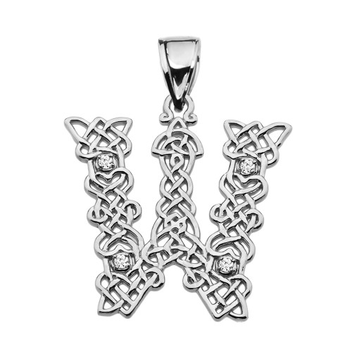 """""""W"""" Initial In Celtic Knot Pattern Sterling Silver Pendant Necklace With CZ"""