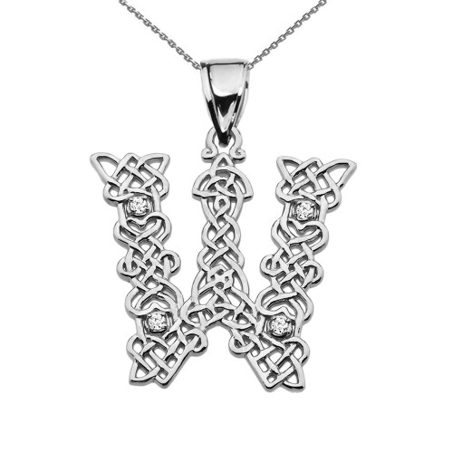 """W"" Initial In Celtic Knot Pattern Sterling Silver Pendant Necklace With CZ"