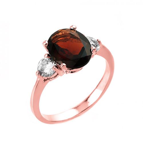 Rose Gold Genuine Garnet and White Topaz Engagement Ring