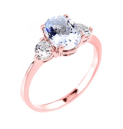 Rose Gold Genuine Aquamarine Gemstone Engagement Ring