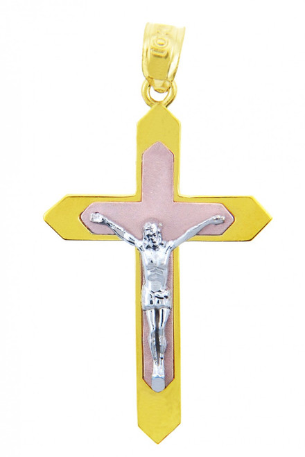 Three Tone Gold Crucifix Pendant - The Majesty Crucifix