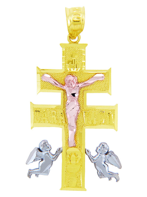Three Tone Gold Crucifix Pendant - The Caravaca Cross