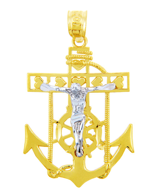 Religious Charms - The Mariner's Two Tone Gold Pendant