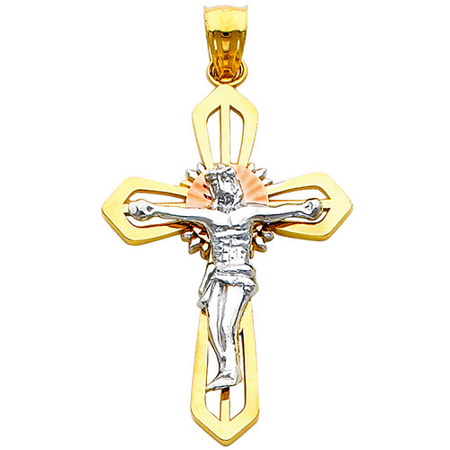 Tri-Color 14K Gold Pious Crucifix with Halo