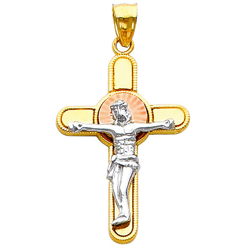 14K Tri-Color Gold Virtuous Crucifix