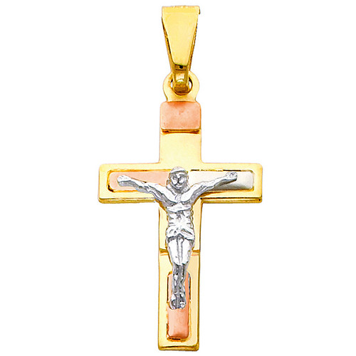 14K Tri-Color Gold Seraphic Crucifix