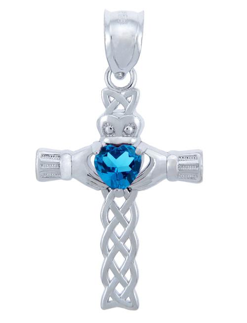 925 Sterling Silver Celtic Cross Blue CZ Heart Pendant
