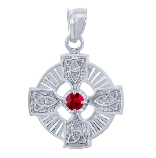 925 Sterling Silver Celtic Trinity Red CZ Pendant w/ Garnet