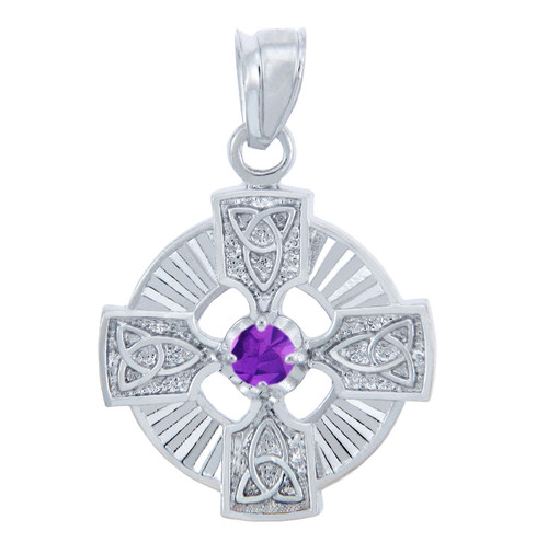 925 Sterling Silver Celtic Trinity Purple CZ Pendant with Amethyst
