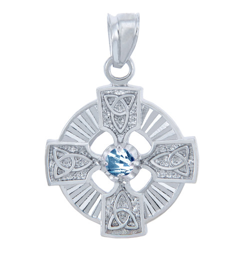 925 Sterling Silver Celtic Trinity CZ Pendant with Aquamarine