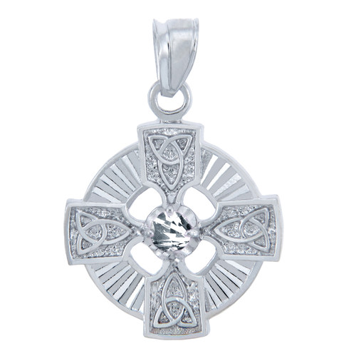 925 Sterling Silver Celtic Trinity Clear CZ Pendant