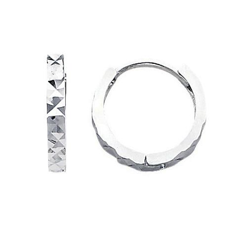 Diamond Cut  Circle  White Gold Earrings