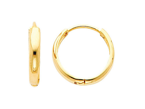 Traditional Yellow Gold Round Huggies Earrings