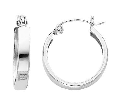 Polished White Gold Latched Huggies Earrings