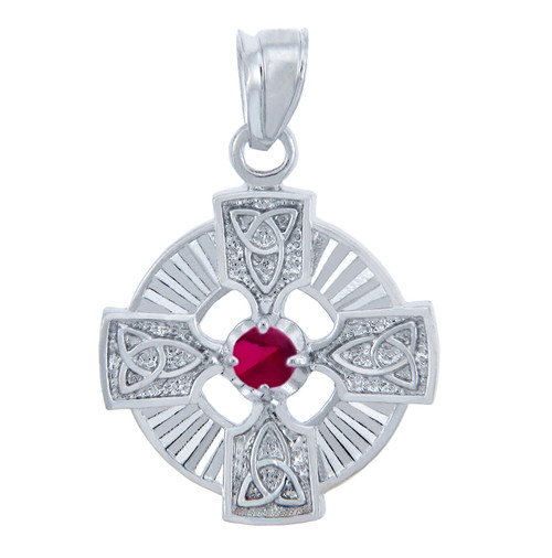 925 Sterling Silver Celtic Trinity Red CZ Pendant with Ruby