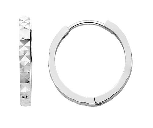 Diamond Cut Round White Gold Huggie Earrings