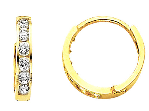 Small CZ Yellow Gold Huggie Earrings