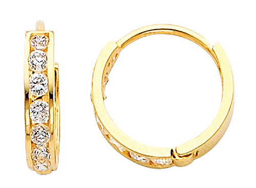 Small Round CZ Yellow Gold Huggie Earrings
