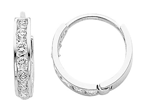 Small Round CZ White Gold Huggie Earrings