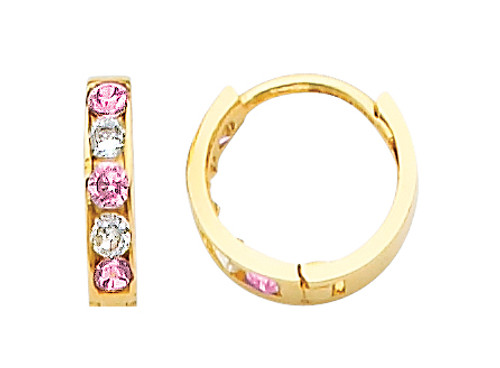 Small Yellow Gold  Pink White  CZ Huggie Earrings
