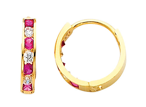 Bold Yellow Gold Red White CZ Huggie Earrings
