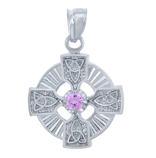 925 Sterling Silver Celtic Trinity Pink CZ Pendant