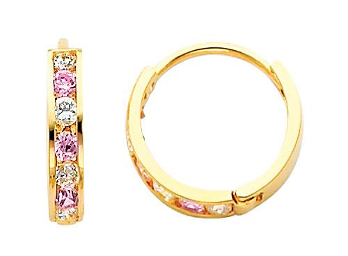 Bold Yellow Gold Pink White CZ Huggie Earrings