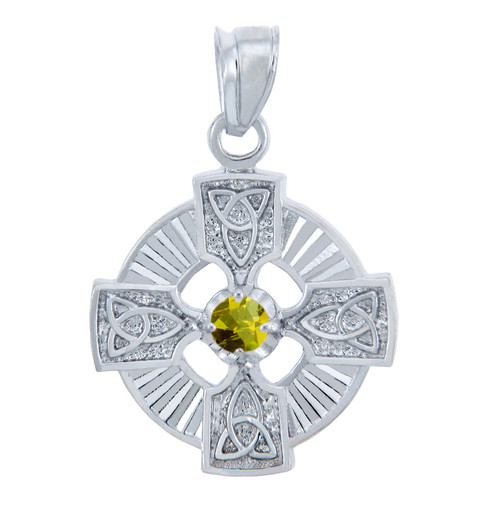 925 Sterling Silver Celtic Trinity Yellow CZ Pendant with Topaz