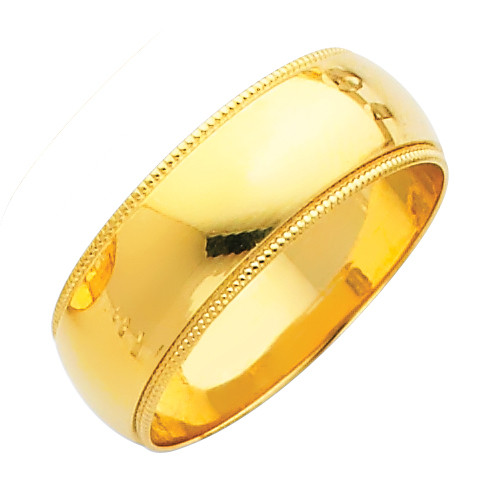 14K Milgrain Gold Classic Wedding Band - 7MM