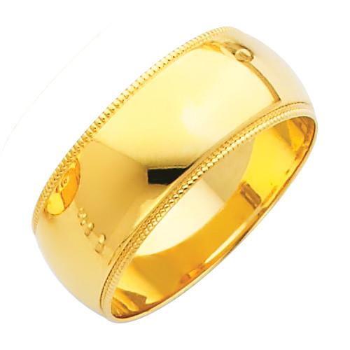 14K Milgrain Gold Classic Wedding Band - 8MM