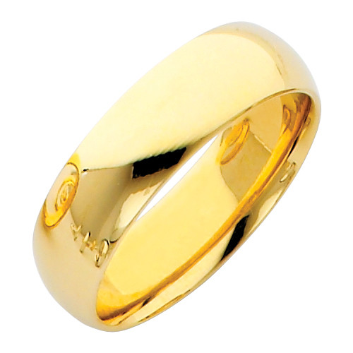 Gold Classic Comfort Fit Wedding Band 6MM