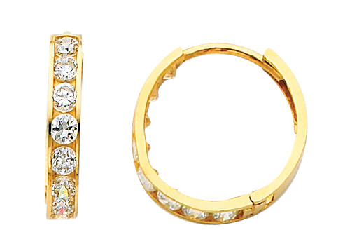 Yellow Gold Classic CZ Huggie Earrings