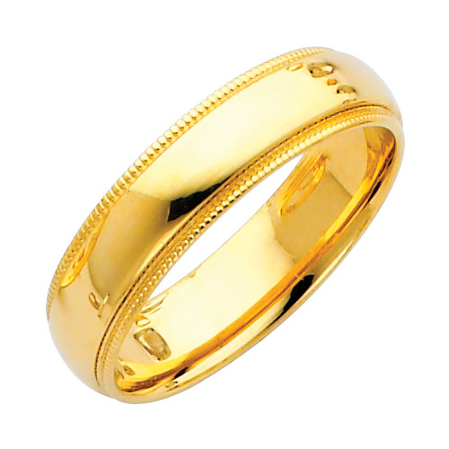 14K Gold Milgrain Comfort Fit Wedding Band 5MM