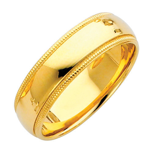 14K Gold Milgrain Comfort Fit Wedding Band 6MM