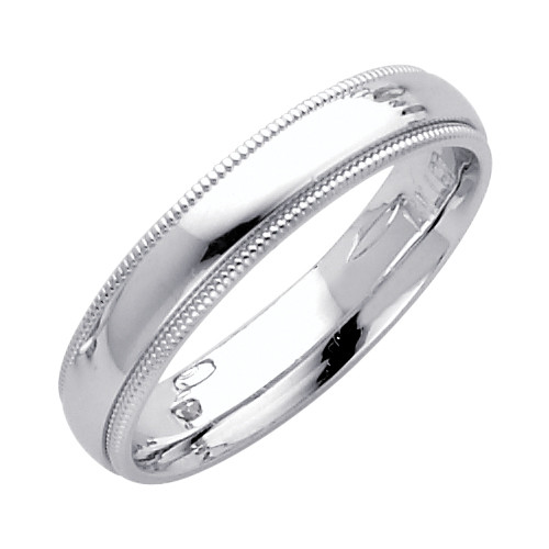 14K White Gold Milgrain Comfort Fit Wedding Band 4MM