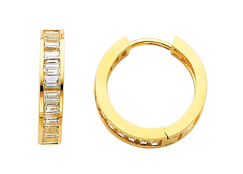 Traditional CZ  Huggie Yellow Gold Huggie Earrings