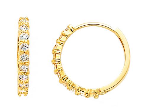 Stunning Yellow Gold CZ Huggie Earrings