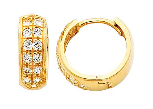 Large Yellow Gold Stunning CZ Huggie Earrings