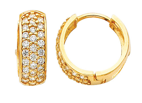 Large Yellow Gold CZ Huggie Earrings