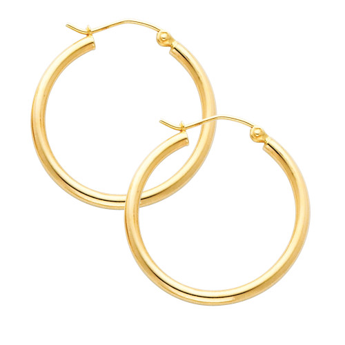 Yellow Gold Hoop Earring -1 Inches