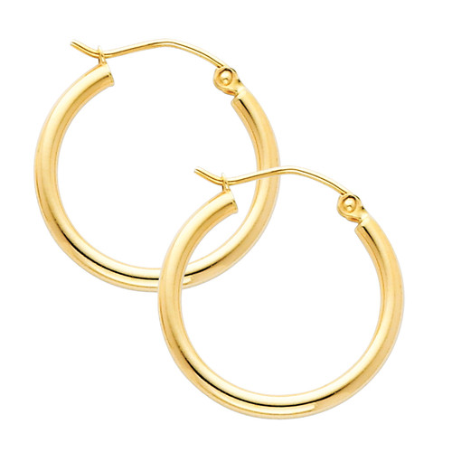 Yellow Gold Hoop Earring -0.75 Inches