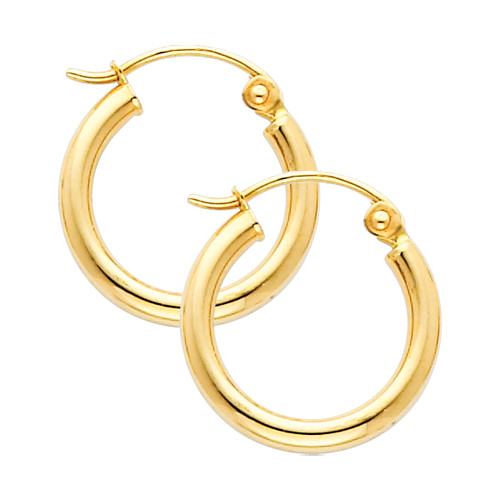 Yellow Gold Hoop Earring -0.4 Inches