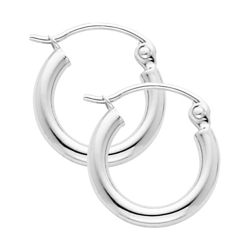 White Gold Hoop Earring -0.25 Inches