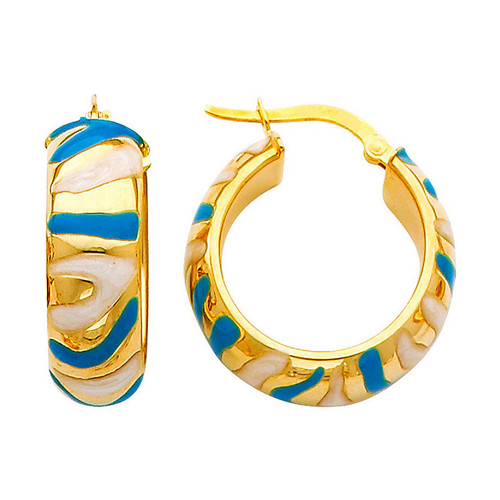 Two Tone Yellow Gold Fancy Hoop Earring Blue and White