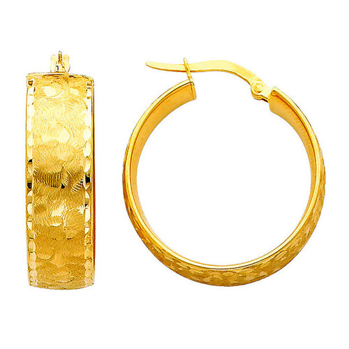 Bold Yellow Gold Fancy Hoop Earring
