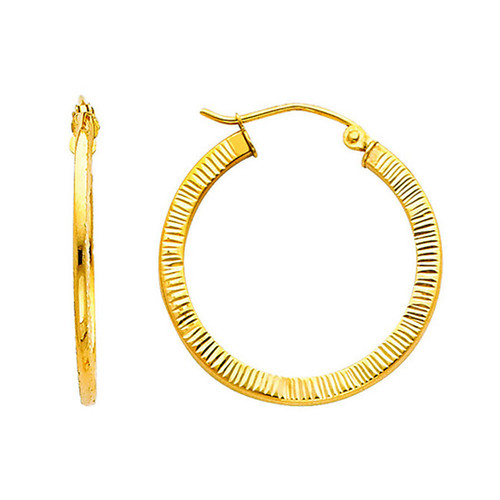 Thin Fancy Yellow Gold  Hoop Earring