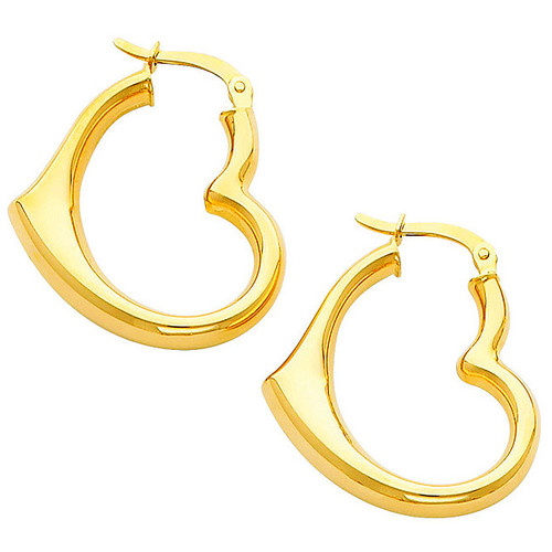 Large Yellow Gold Heart Hoop Earring