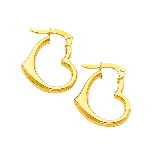Small Yellow Gold Heart Hoop Earring