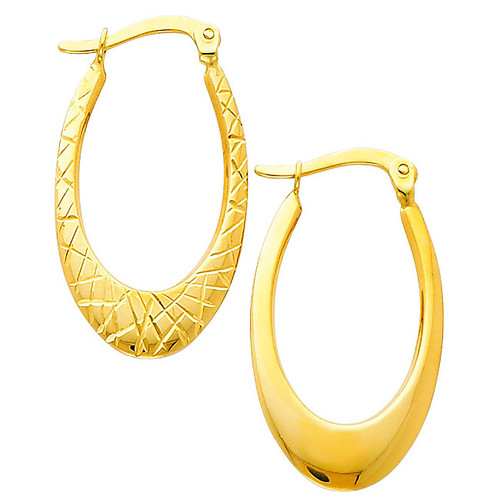 Reversible Narrow Yellow Gold Diamond Cut Hoop Hearring
